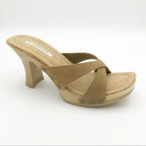 CLASSIFIED Toy Tan Camel Suede Sandal with Heel